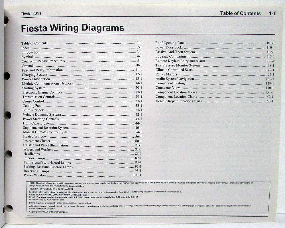 2011 ford fiesta electrical wiring diagrams manual  troxel's auto literature