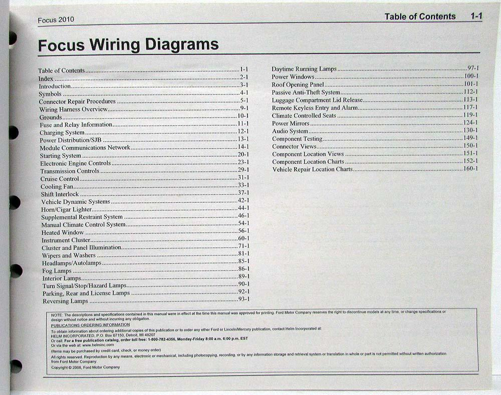 2010 Ford Focus Electrical Wiring Diagrams Manual 2005 Ignition Diagram