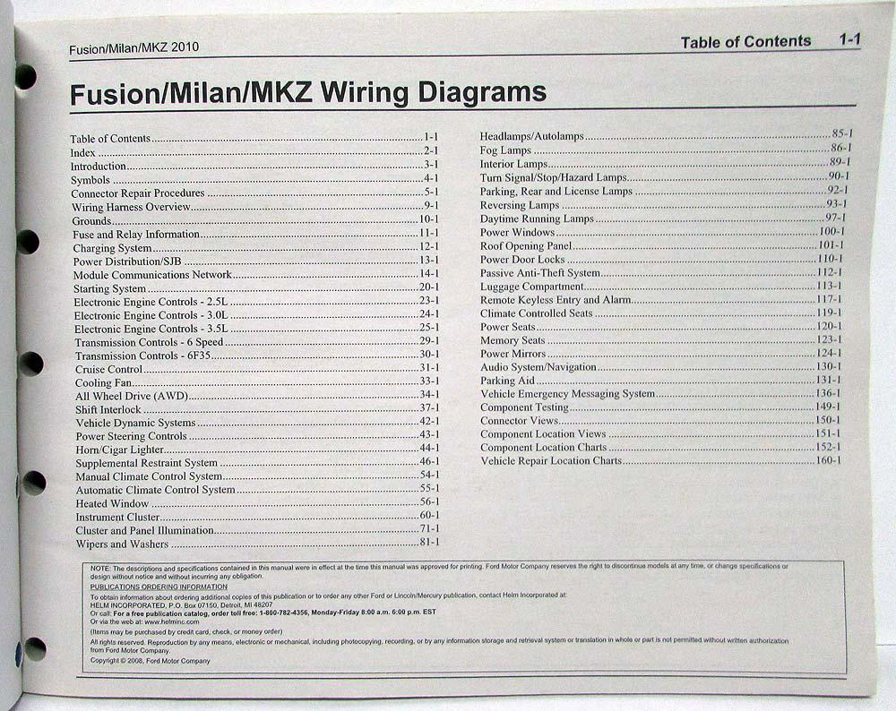 2010 Ford Fusion Lincoln Mkz Mercury Milan Electrical Wiring Starting Circuit Diagram For The 1955 All Models Diagrams Manual