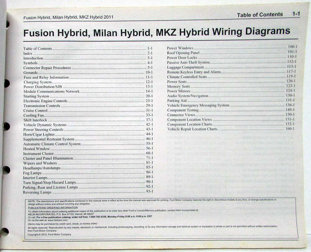 2011 Ford Fusion Mercury Milan & Lincoln MKZ Hybrids Electrical Wiring  Diagrams