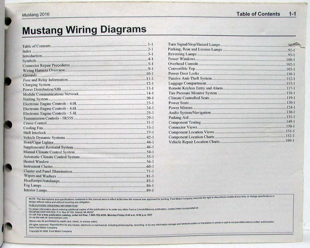 2010 Ford Mustang GT Electrical Wiring Diagrams ManualTroxel's Auto Literature