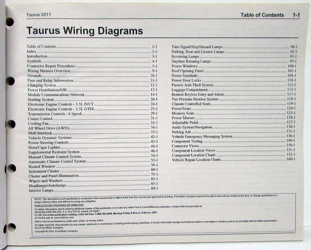 2011 ford taurus electrical wiring diagrams manual rh autopaper com