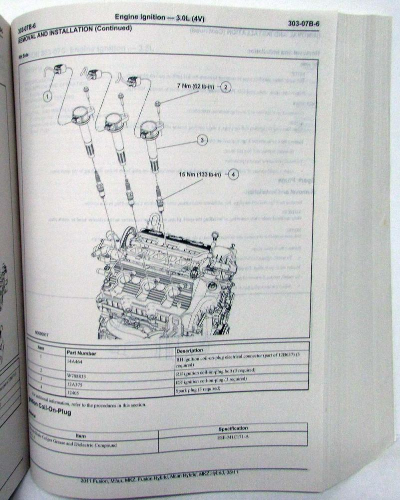 2011 Ford Fusion Mercury Milan Lincoln Mkz Hybrids Service Shop 2007 Engine Diagram Manual Vol 1 3