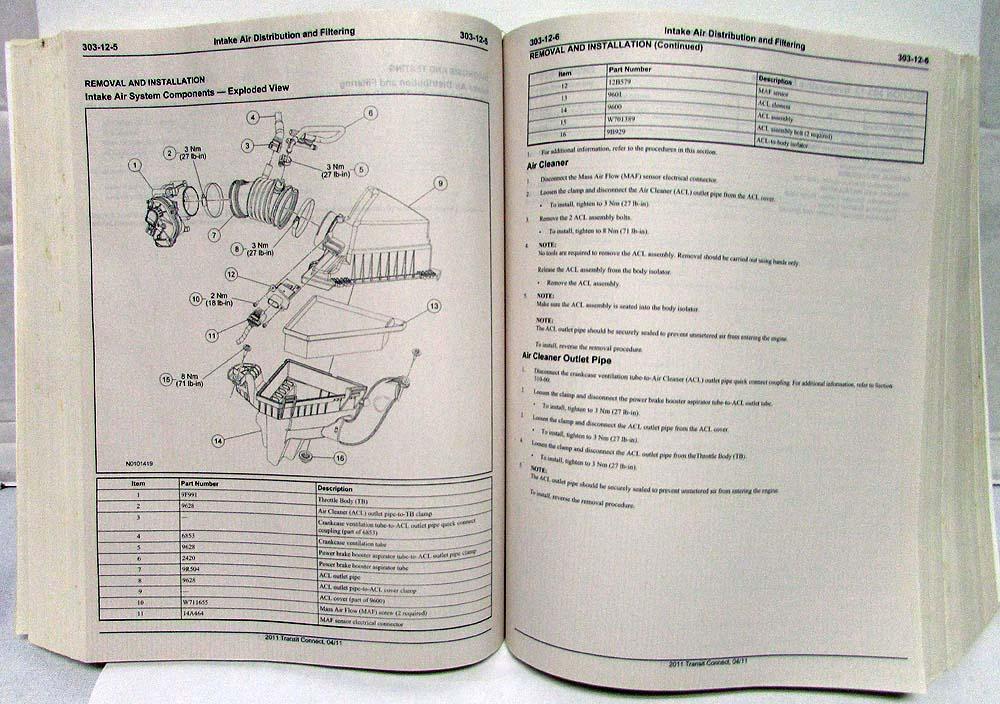2011 Ford Transit Connect Service Shop Repair Manual