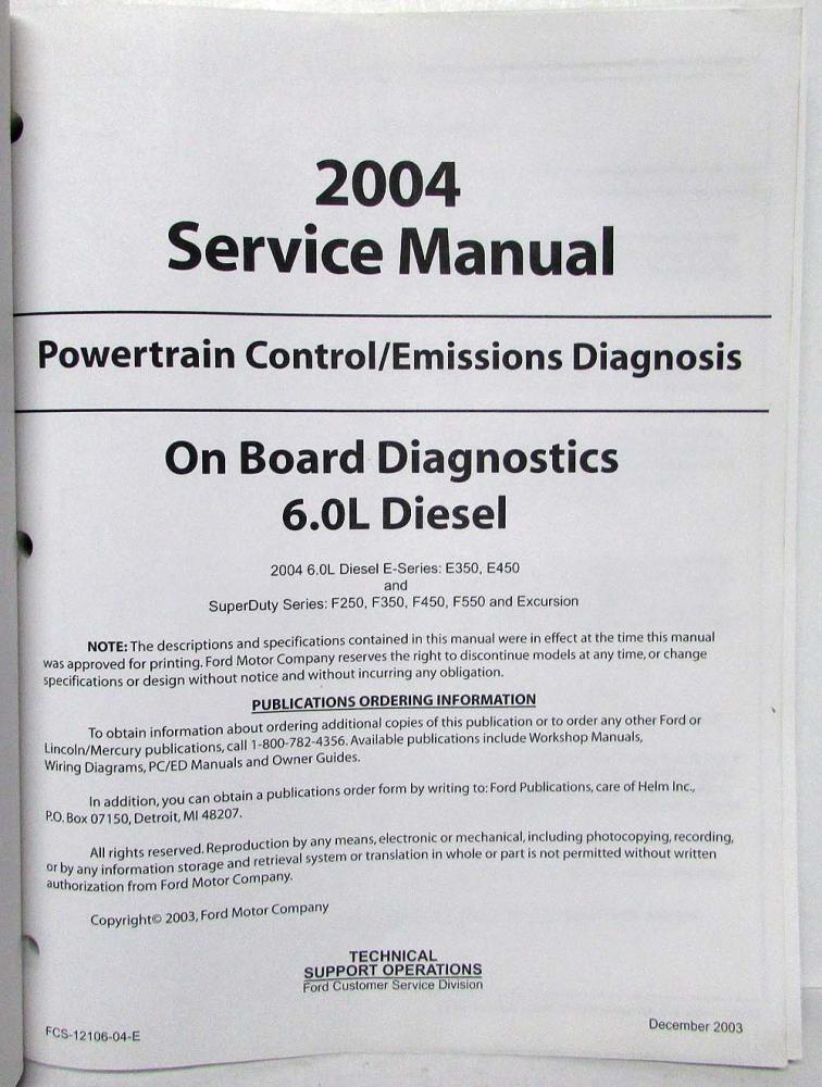 2004 ford 6 0l diesel powertrain control emissions diagnosis service rh autopaper com www.helminc.com repair manuals www.helminc.com repair manuals