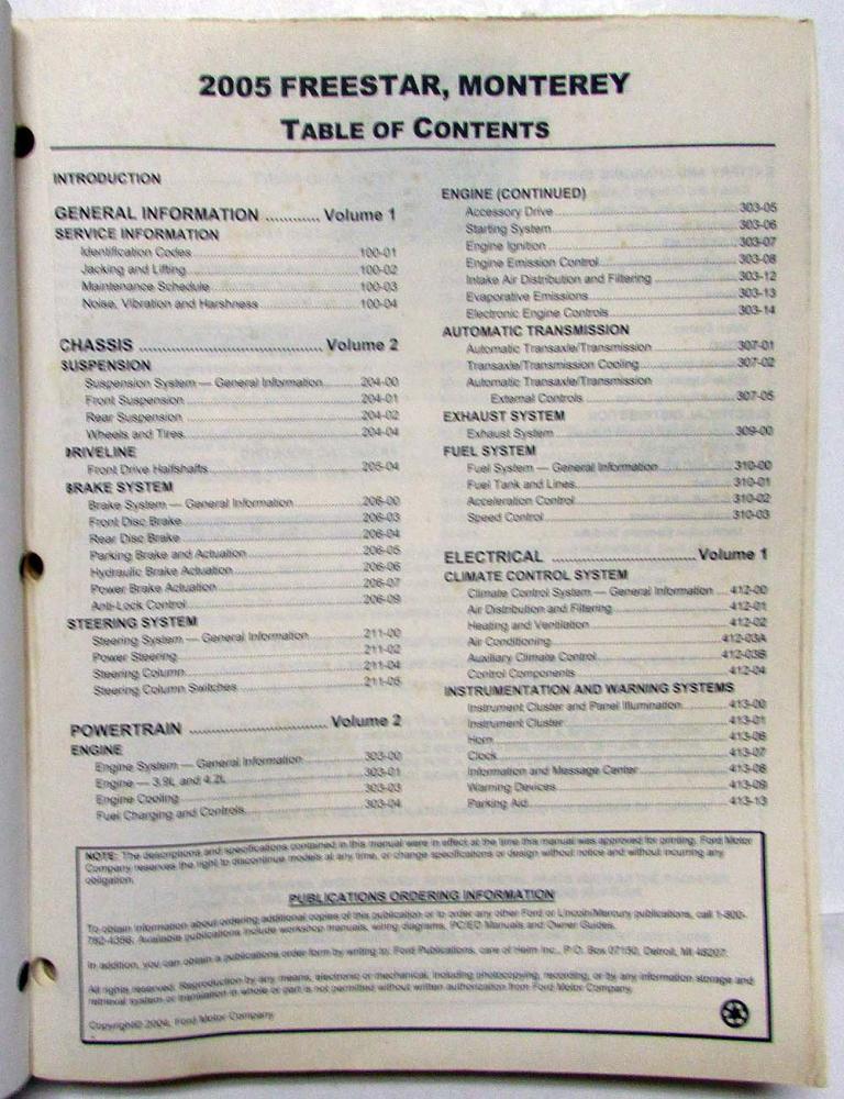 2005 ford freestar repair manual