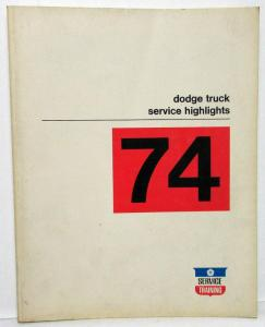 1974 Dodge Truck Dealer Service Highlights Shop Manual Pickup Van HD Preview
