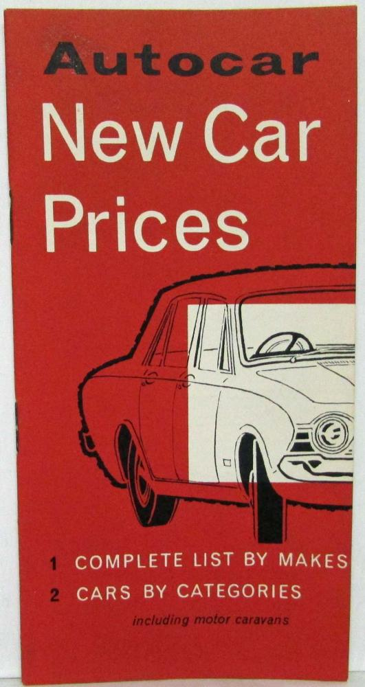 1964 Autocar New Car Prices List - UK