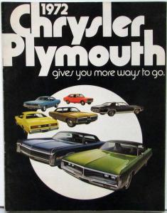 1972 Chrysler Plymouth Road Runner Cuda Duster Sales Brochure No Print Date