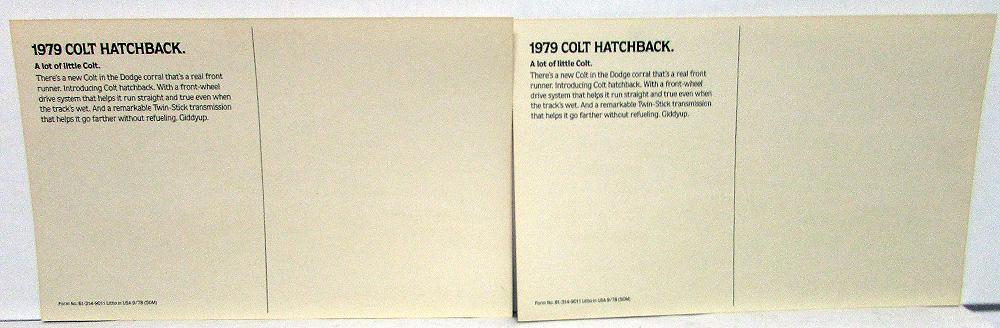 1979 Dodge Colt Dealer Promotional Postcard Pair Hatchback