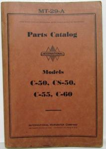 1934-1937 International IH Models C-50 55 60 & CS-50 Parts Catalog