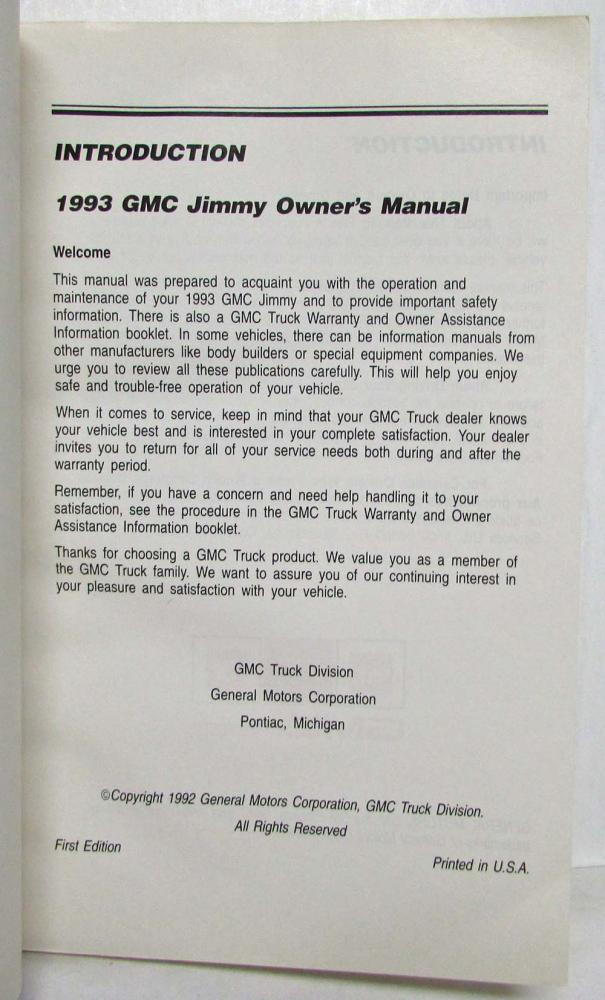 1993 gmc truck jimmy owners manual rh autopaper com 1992 GMC Jimmy 1993 GMC Jimmy MPG