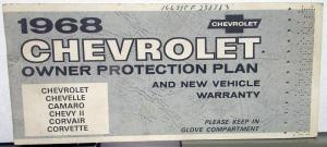 1968 Chevrolet Owner Protection Plan Booklet Impala Caprice Protect-O-Plate Book