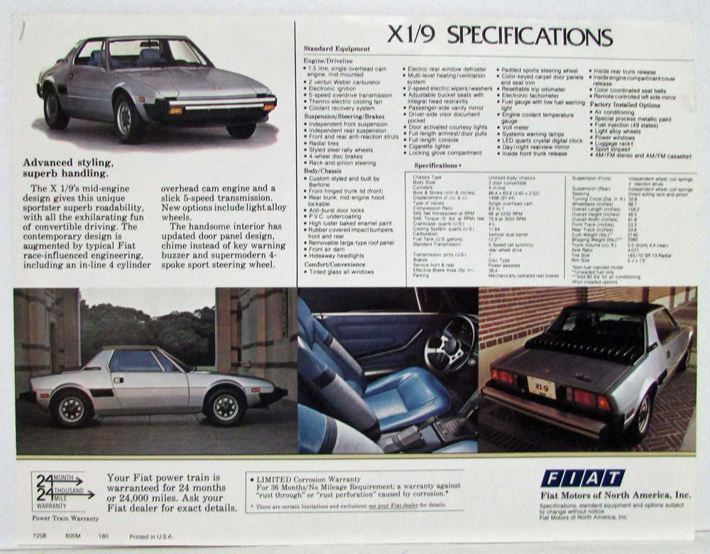 1980 fiat x19 specs