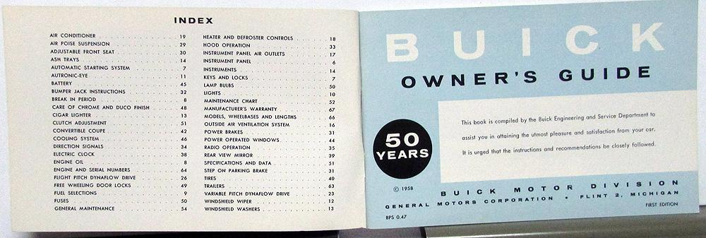 1958 Buick Owners Manual Care & Op Special 40 Super 50 Roadmaster 70