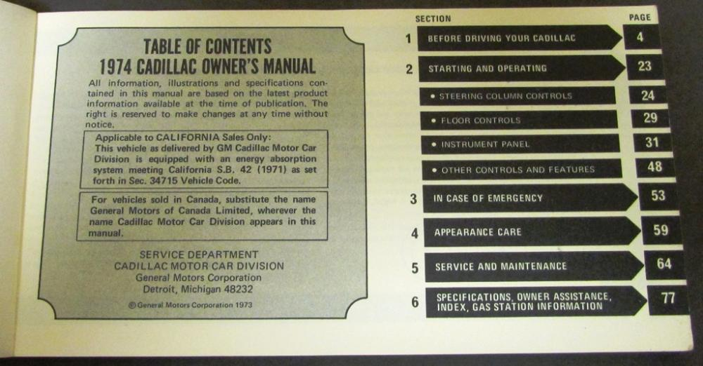 1974 Cadillac Owners Manual Original Calais Deville