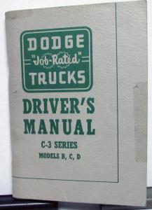 1955 Dodge Truck Owners Manual Original Care & Operation C-3 Models B C D