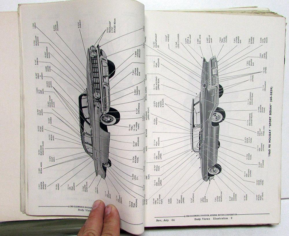 1964 Oldsmobile Dealer Body Parts Book Catalog F85 Cutlass