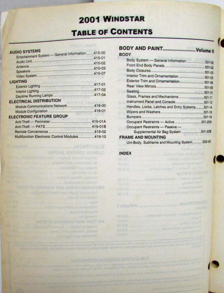 2001 Ford Windstar Van Service Shop Repair Manual Set Vol 1 & 2