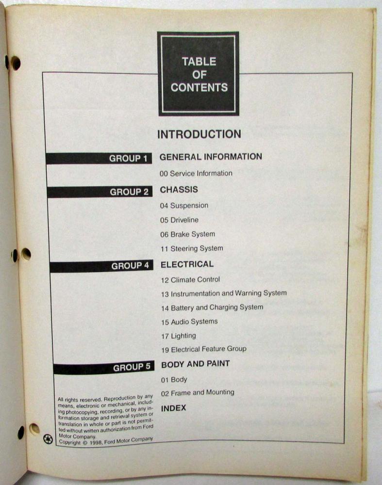 1999 Ford Econoline Club Wagon E-Series Gas Diesel Service
