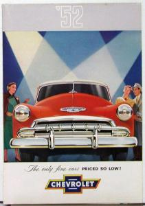 1952 Chevrolet Styleline Sales Folder With White Sidewall Tires Text Back Cover