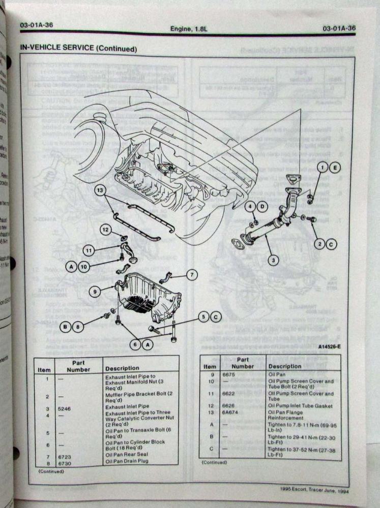 1995 Ford Escort Mercury Tracer Service Shop Repair Manual