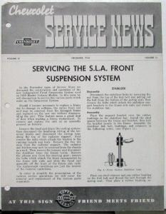 1938 Chevy Service News SLA Front Suspension System Vol 12 No 12 Tech Bulletin