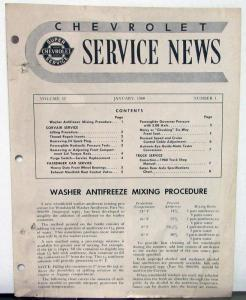 1960 Chevrolet Service News Corvair Service Vol 32 No 1 Tech Bulletin Original