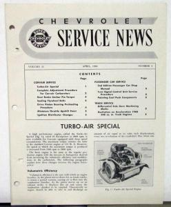 1960 Chevrolet Service News Turbo Air Special Vol 32 No 4 Tech Bulletin Original