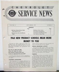 1959 Chevrolet Service News Corvette Fuel Injection  Vol 31 No 8 Tech Bulletin