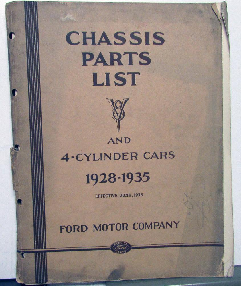1914 1916 Dodge Brothers Parts Book Original: 1928-1935 Ford Dealer Chassis Parts List Book Catalog V8