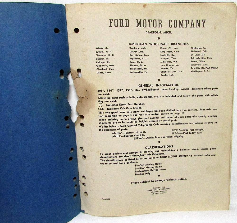 St Louis Ford Dealers >> 1938 1946 Ford Dealer Truck Bus Two Speed Rear Axle Parts