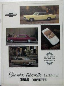 1966 Chevrolet Chevelle Chevy II Corvair Corvette Export Sales Brochure Original