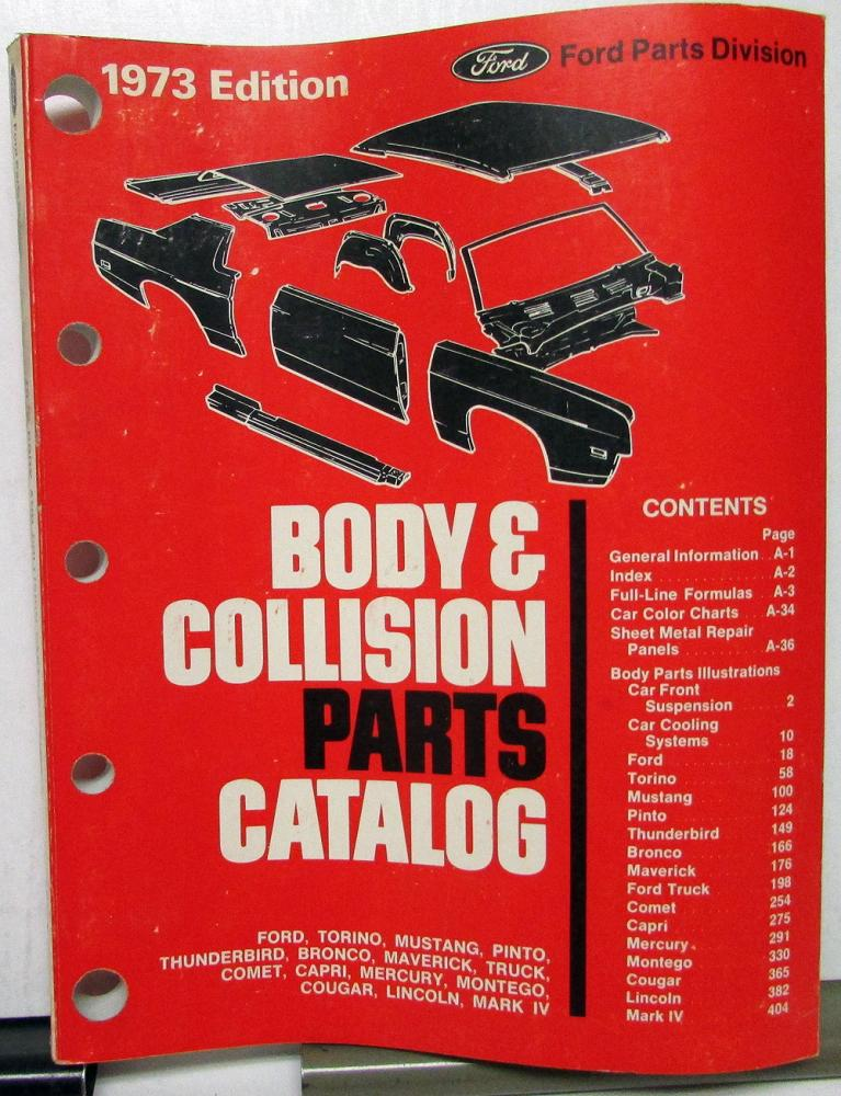 1973 Ford Lincoln Mercury Body & Collision Parts Catalog