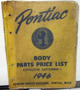 1946 Pontiac Body Parts Price List Catalog Book Streamliner Torpedo Coupe Sedan