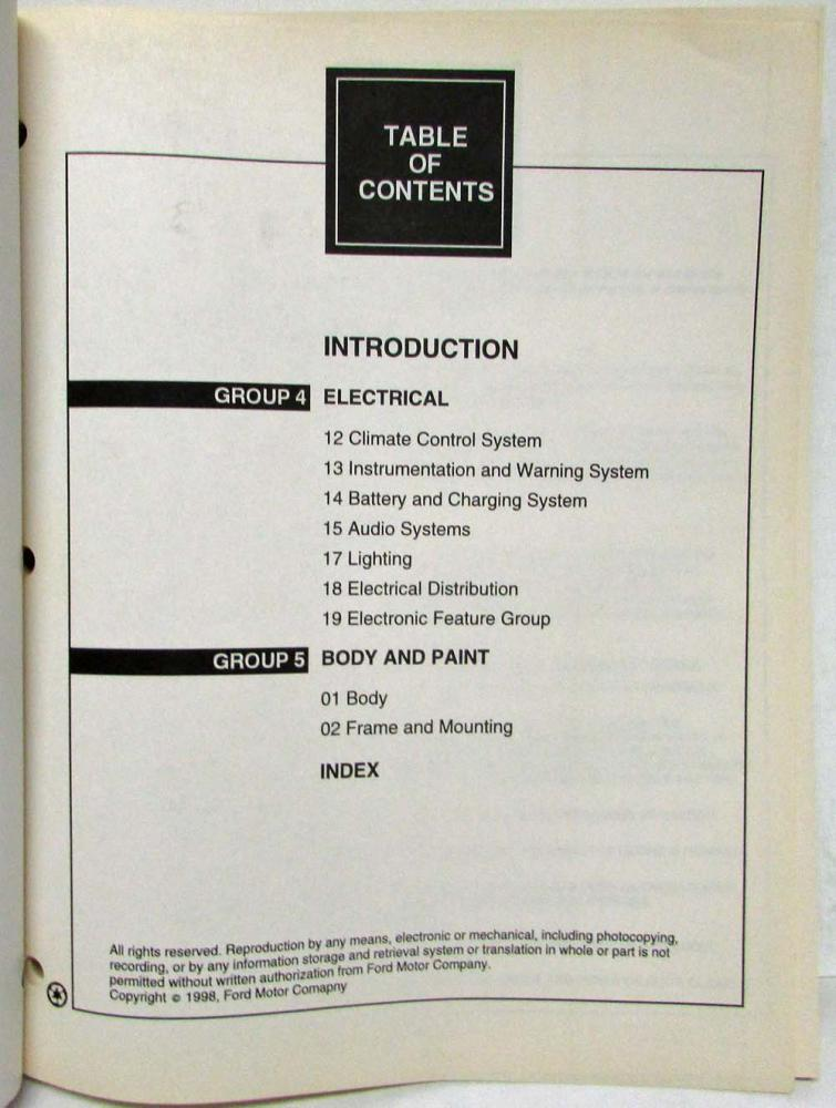 2000 FORD MERCURY VILLAGER Service Shop Repair Manual Set W ELECTRICAL MANUAL