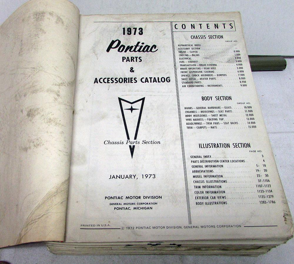 1964 1973 Pontiac Dealer Parts Catalog Book Text Gto Firebird Lemans 1972 Wiring