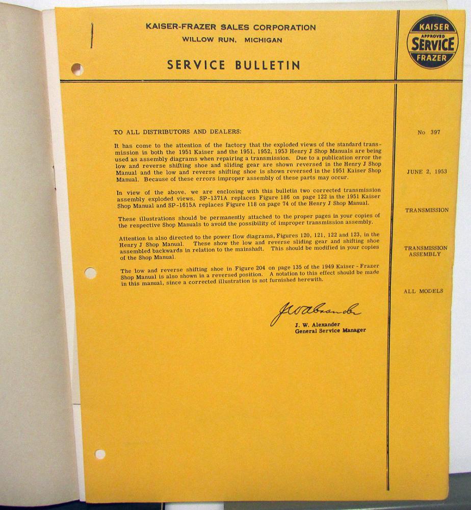 1952 1953 kaiser dealer shop service repair manual supplement original rh autopaper com Kaiser Appointment Kaiser Permanente