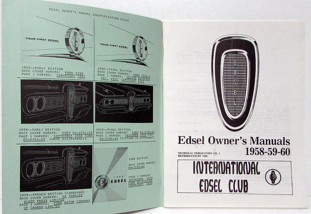 1958 59 60 edsel owners manuals reproduced by international edsel club rh autopaper com Cartoon Manual Cartoon Manual
