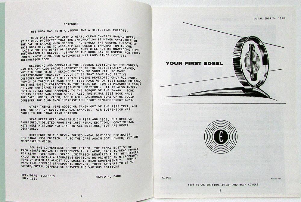 1958 59 60 edsel owners manuals reproduced by international edsel club rh autopaper com Operators Manual Cartoon Manual