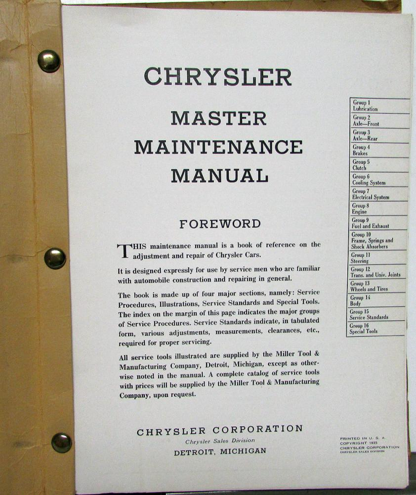 1934 1935 1936 chrysler maintenance service shop manual 6 8 rh autopaper com SunTouch Mat Installation Manual Rival Deep Fryer Manual
