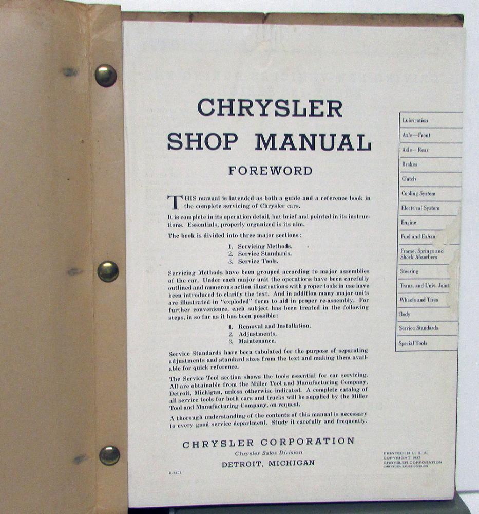 1937 Chrysler Service Shop Manual Repair C14 C15 C16 C17