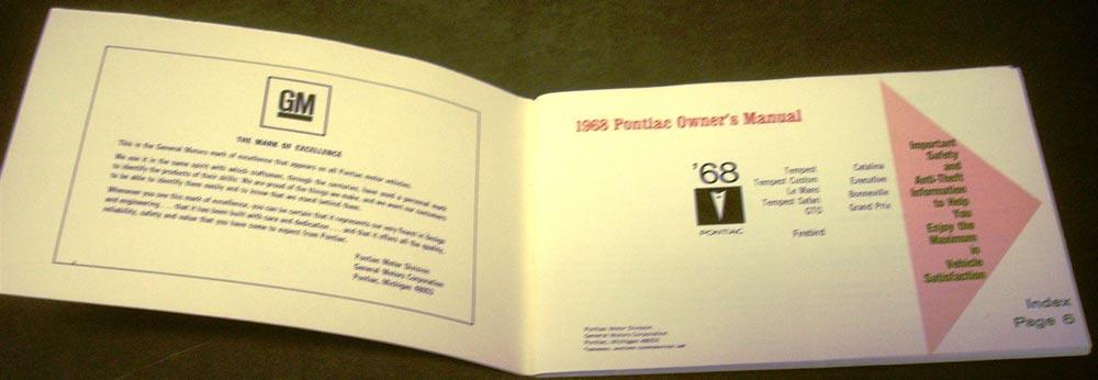 original 1968 pontiac grand prix tempest gto firebird owners manual rh autopaper com 1996 Pontiac Grand Prix 1997 pontiac grand prix owners manual book