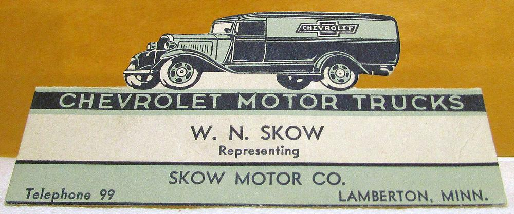 1929 1930 1931 Chevy Trucks Skow Motor Co Lamberton Minn Die Cut Business Card