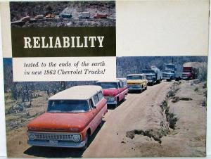 1963 Chevrolet Truck Full Line Reliability Tested Color Sales Folder Original