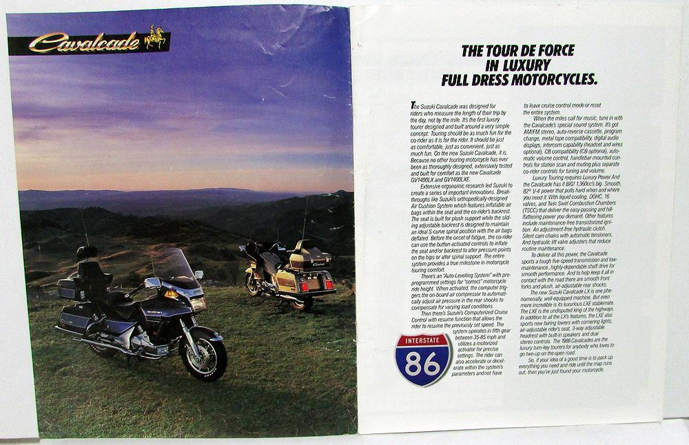 1986 Suzuki Cavalcade LX & LXE Motorcycle Dealer Sales