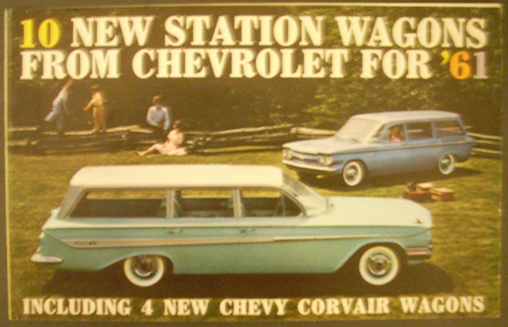 1961 Chevrolet & Corvair Station Wagons Full Line Color Sales Folder Original