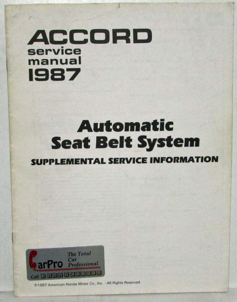 1987 honda accord service shop repair manual supplement auto seat rh autopaper com 1989 Honda Accord Manual 2010 Honda Accord
