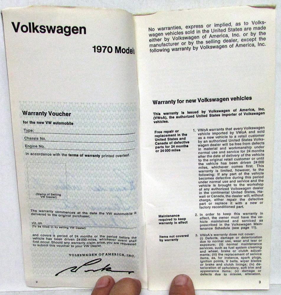1970 volkswagen station wagon maintenance record book service info