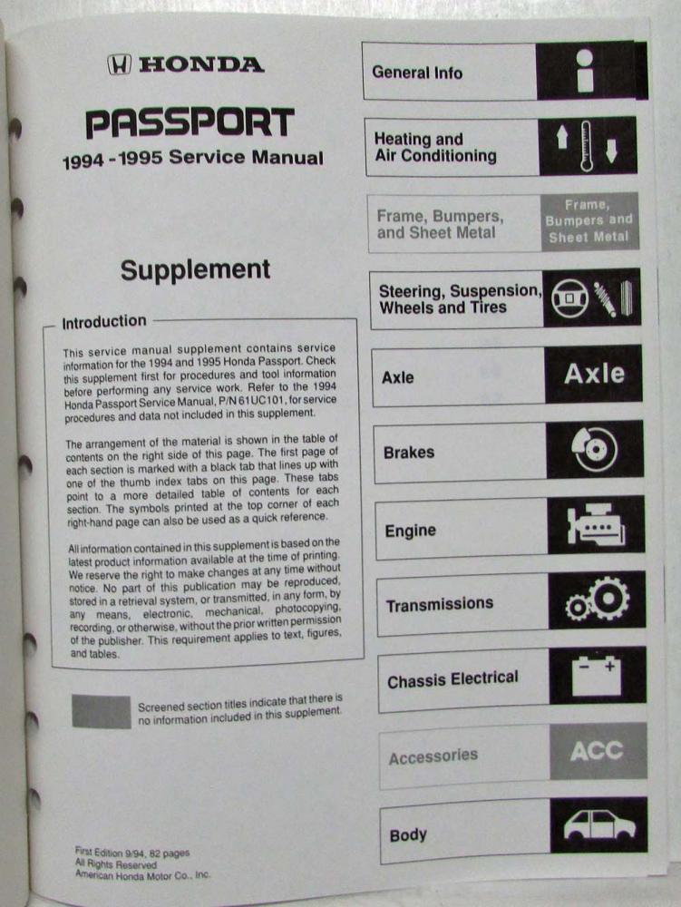 1994 1995 honda passport service shop repair manual supplement rh autopaper com 2000 Honda Passport Engine Diagram Honda Passport Repair Manual